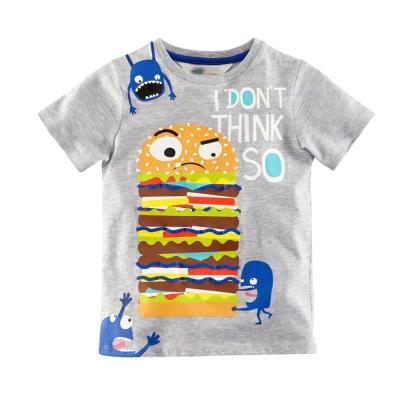 jumping meters歐美風格設計 小童中童男童短棉T居家外出 霸氣漢堡 灰色