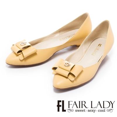 Fair-Lady-粉嫩甜美皇冠結飾低跟鞋-黃