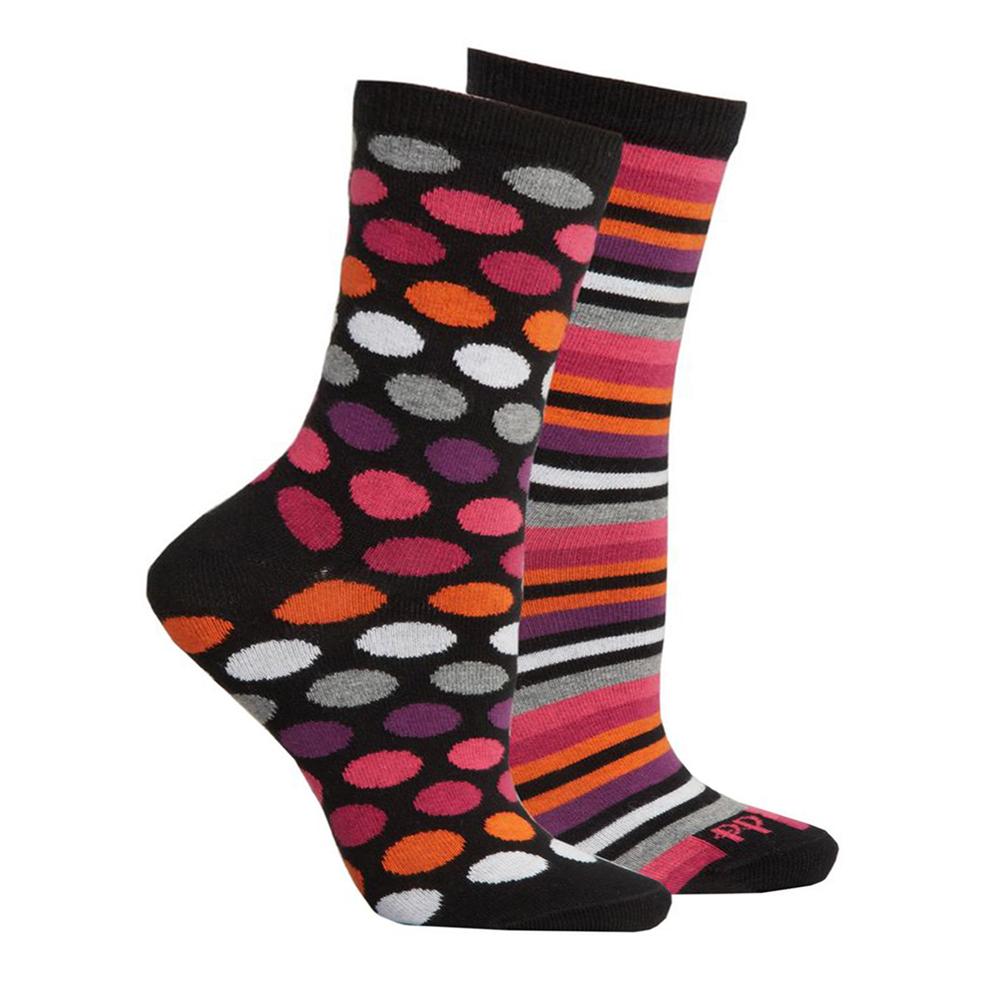 英國進口Pretty Polly 時尚普普風圓點條紋棉襪腳踝襪短襪(一組兩雙不同款)