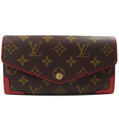 LV-M61184-Sarah-經典花紋發財包扣式長夾-紅