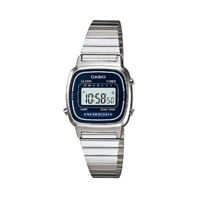 CASIO 經典復古風數位女腕錶(LA-670WA-2)-深藍框/24.6mm