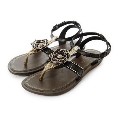 GRENDHA 華麗山茶花踝帶時尚平底涼鞋-黑色