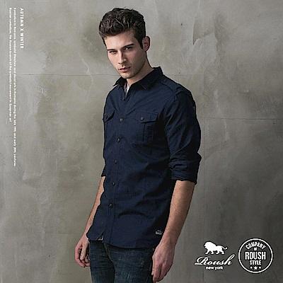 ROUSH 高磅數水洗雙口袋軍裝襯衫 (2色)