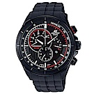EDIFICE急速賽車風格三針三眼計時腕錶(EFR-561PB-1A)全黑/46.7mm