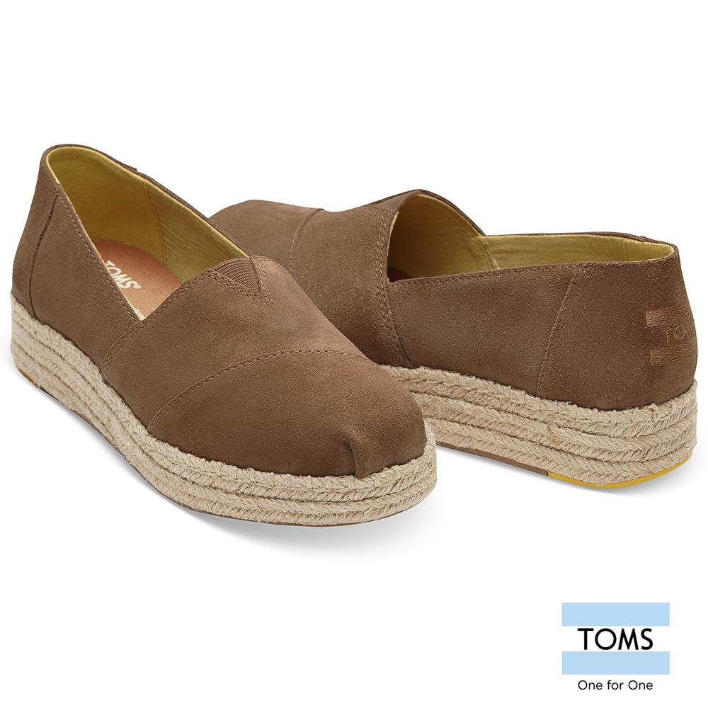 TOMS 麂皮厚底藤編休間鞋-女款