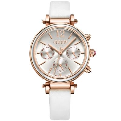 JULIUS聚利時 LADY FIRST三眼設計皮錶帶腕錶-時尚白/34mm