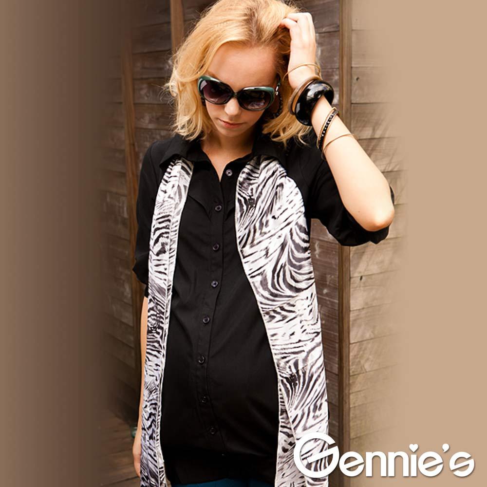 【Gennie's奇妮】知性簡約七分袖孕婦襯衫上衣-黑(C3213)