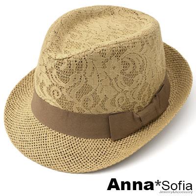 AnnaSofia-蕾絲織頂側蝶結-防曬遮陽紳士帽