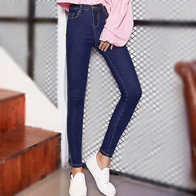 口袋窄管加絨牛仔褲 (共三色)-Kugi Girl