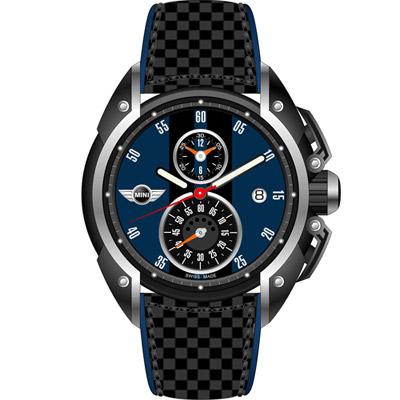 MINI Swiss Watches 跑旅時尚計時腕錶-藍x黑/45mm