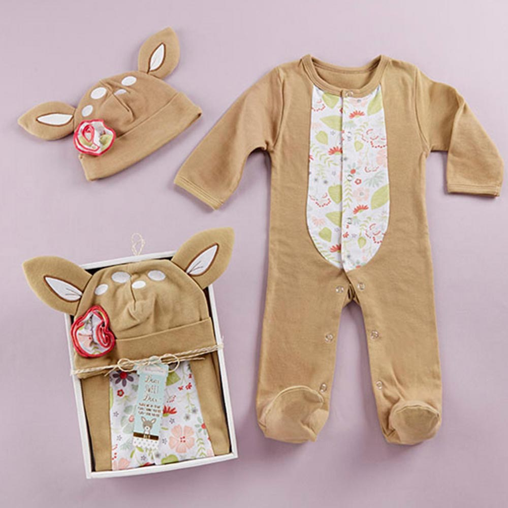 Baby Aspen 棕色小花鹿長袖包腳連身衣帽子2件彌月禮組