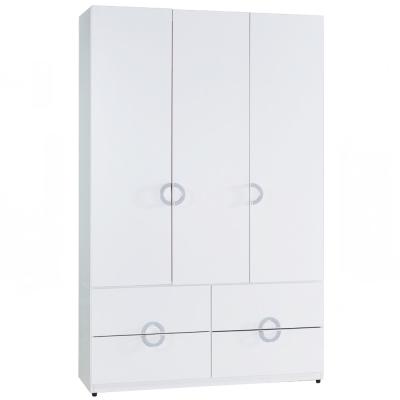 AT HOME-凱倫4x7尺白色四抽衣櫃 120x54x197cm