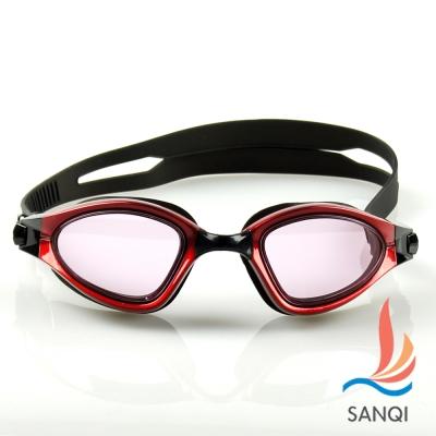 SANQI三奇 夏日必備抗UV防霧休閒泳鏡(9015-紅F)