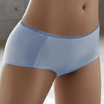 推Audrey-就是愛運動 棉籽絨款中高腰平口褲(薄霧藍)