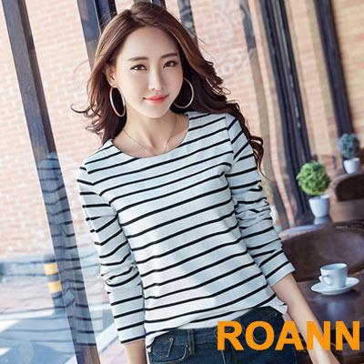 簡約圓領內刷毛橫紋上衣 (共二色)-ROANN