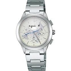 agnes b. 全球旅行世界地圖三眼計時中性錶(