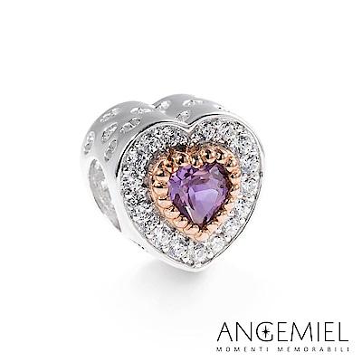 Angemiel安婕米 925純銀 串珠 奢華愛心(紫)