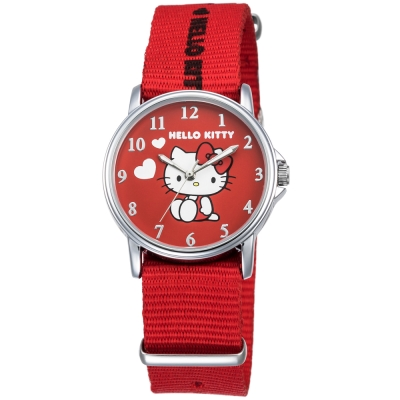 HELLO KITTY 凱蒂貓愛心滿滿帆布手錶-紅/33mm
