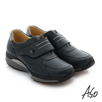 A.S.O 輕量抗震 真皮魔鬼氈奈米休閒鞋 深藍色
