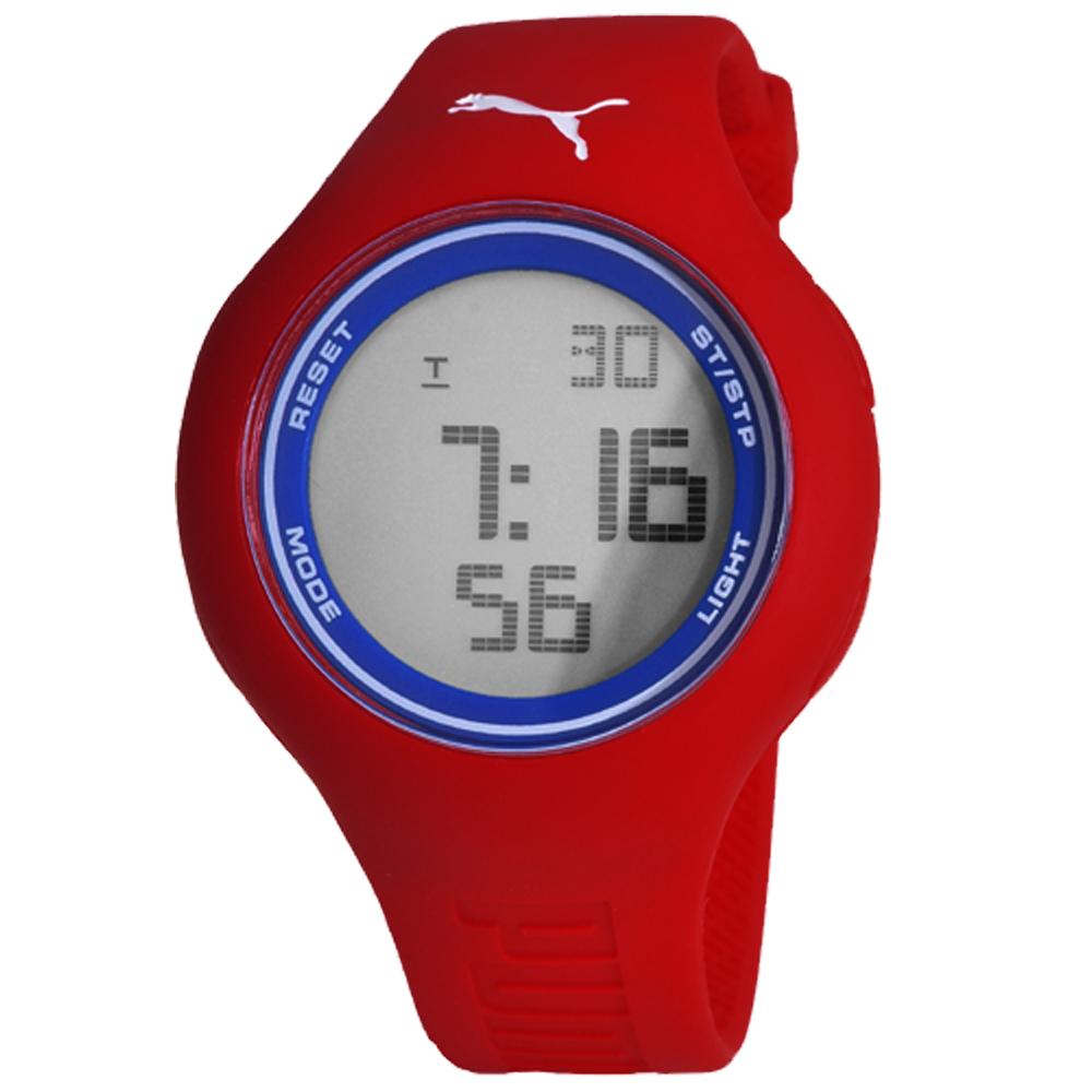 PUMA 陽光信號電子腕錶-紅x藍/45mm