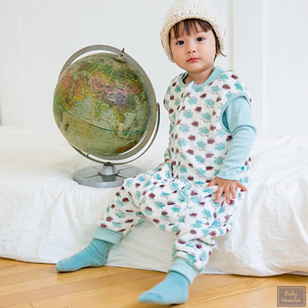 Baby unicorn 綠色花蕊絨毛防踢睡袋