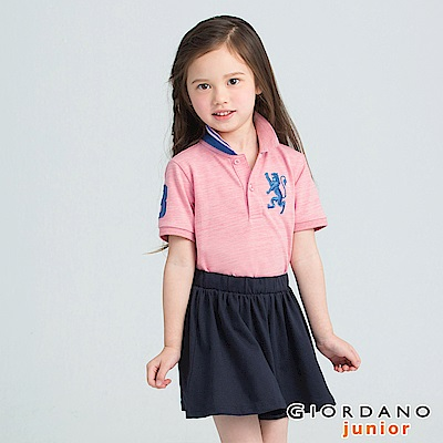 GIORDANO  童裝勝利獅王3D刺繡短袖POLO衫-43 仿段彩薔薇粉紅