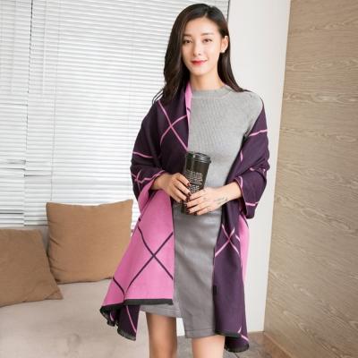 Seoul-Show-不列顛撞色菱格紋仿羊絨圍巾