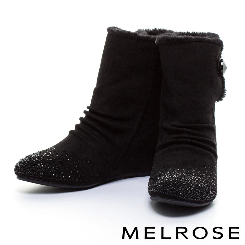 短靴MELROSE毛毛氛圍晶鑽內增高高筒短靴-黑