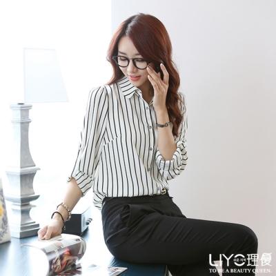 LIYO理優上衣條紋襯衫(白)