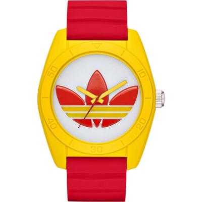 adidas 街潮繽紛三葉休閒腕錶-紅帶x黃框/40mm