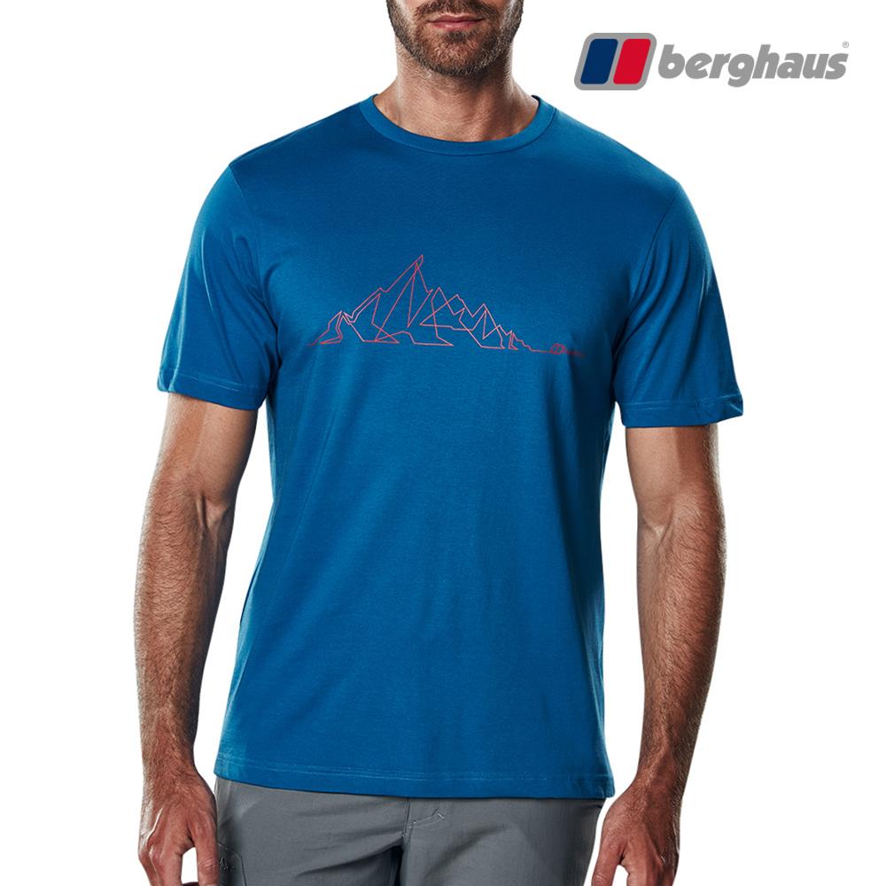 【Berghaus貝豪斯】男款山陵線印花圓領T恤S04M15-藍