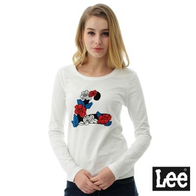 Lee 圓領貼身長袖T恤/101+-女款-白色