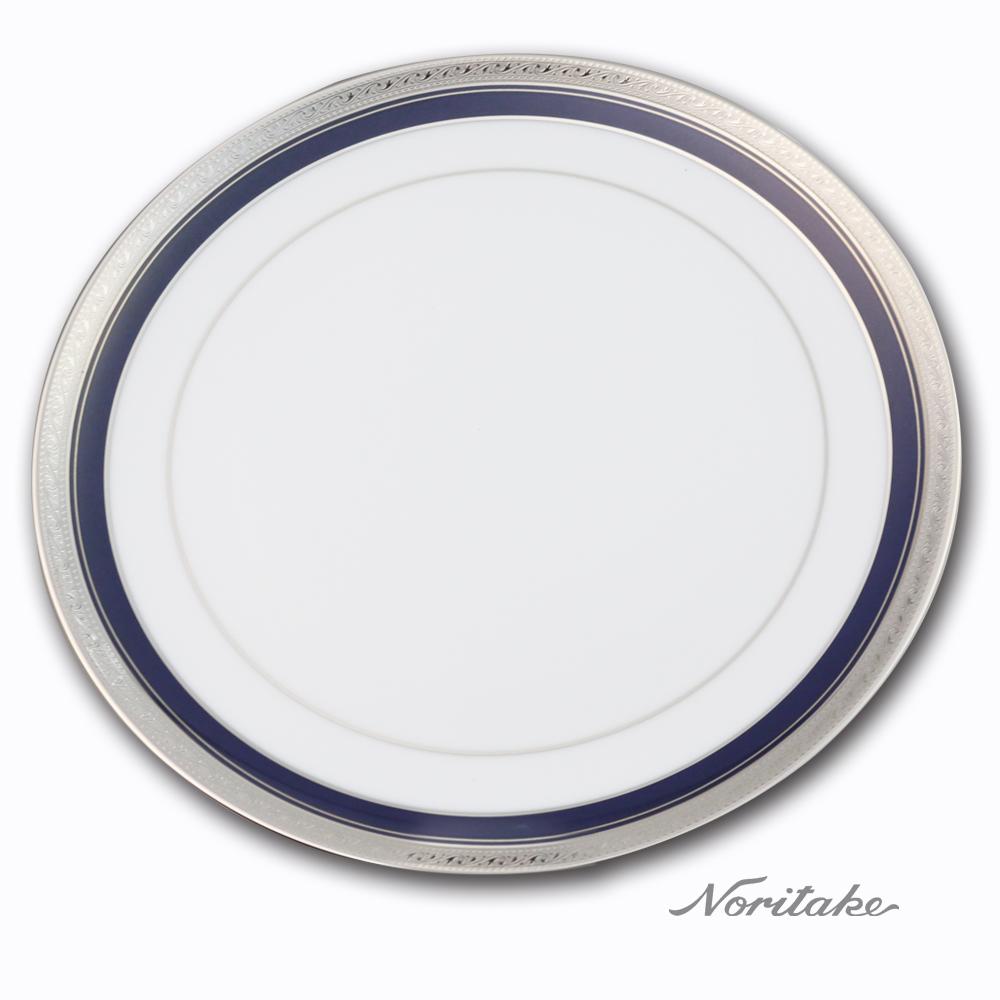Noritake 藍色多瑙河銀邊中式圓盤27cm