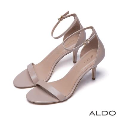 ALDO真皮原色一字露趾金屬釦繫踝跟鞋-優雅粉裸
