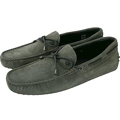 TOD'S Gommino Driving 麂皮編織綁帶豆豆鞋(男鞋/墨綠)