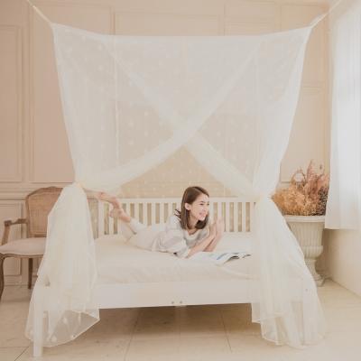 凱蕾絲帝-100%台灣製造大空間210*200*200公分加高可站立針織蚊帳(開三門)米白