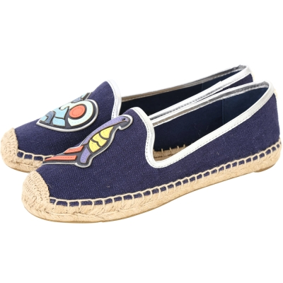 TORY BURCH Parrot Mismatched彩繪圖騰麻編休閒鞋(藍色)