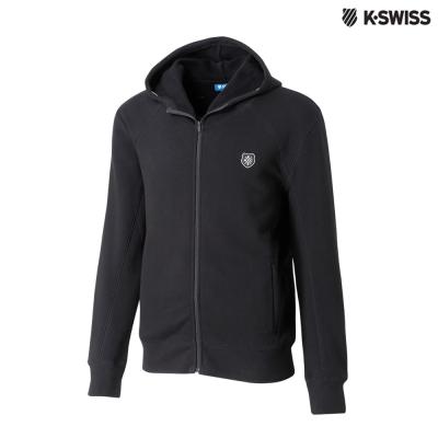 K-SWISS Fleece Jaket時尚連帽外套-男-黑