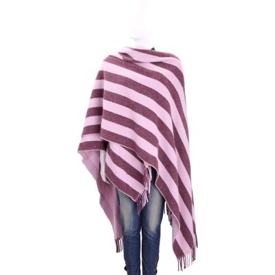 Max Mara-WEEKEND 粉紫色條紋羊毛流蘇披肩(80%WOOL)