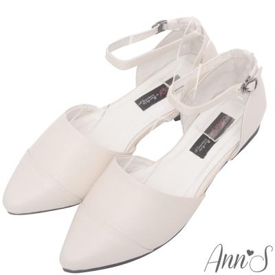 Ann'S柔軟綿羊皮繫帶側空尖頭平底鞋-米
