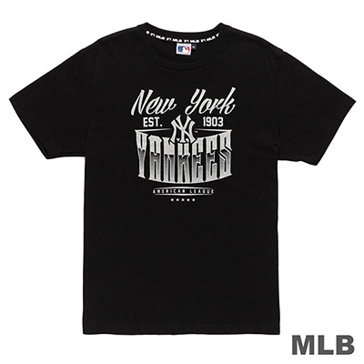 MLB-紐約洋基隊金屬質感印花T恤-黑 (男)