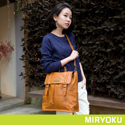 MIRYOKU清新簡約系列-魅力風采兩用後揹包-駝