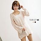 東京著衣 甜美鏤空針織寬鬆領綁帶上衣(共二色)