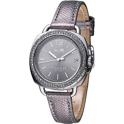 COACH 美式復古風晶鑽女錶-灰黑銀(14502628)/34mm