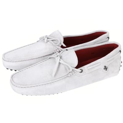 TOD'S FOR FERRARI GOMMINO 麂皮豆豆休閒鞋(灰白)