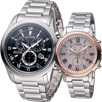CITIZEN 完美情緣光動能對錶(BL5540-53E  FB1434-50Y)黑+粉