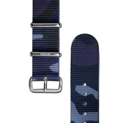 HyperGrand x wisdom 聯名款迷彩印花銀扣尼龍錶帶-藍色/20mm
