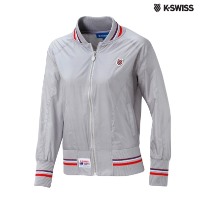K-Swiss Silky Jacket棒球外套-女-銀