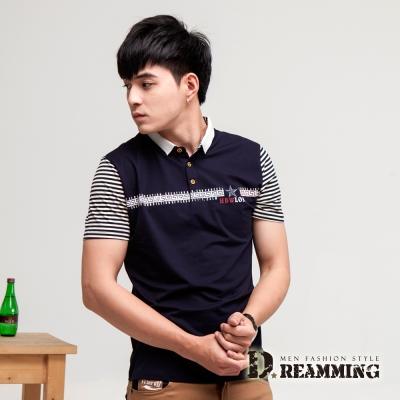Dreamming 星芒配色條紋萊卡彈力短POLO衫-共二色