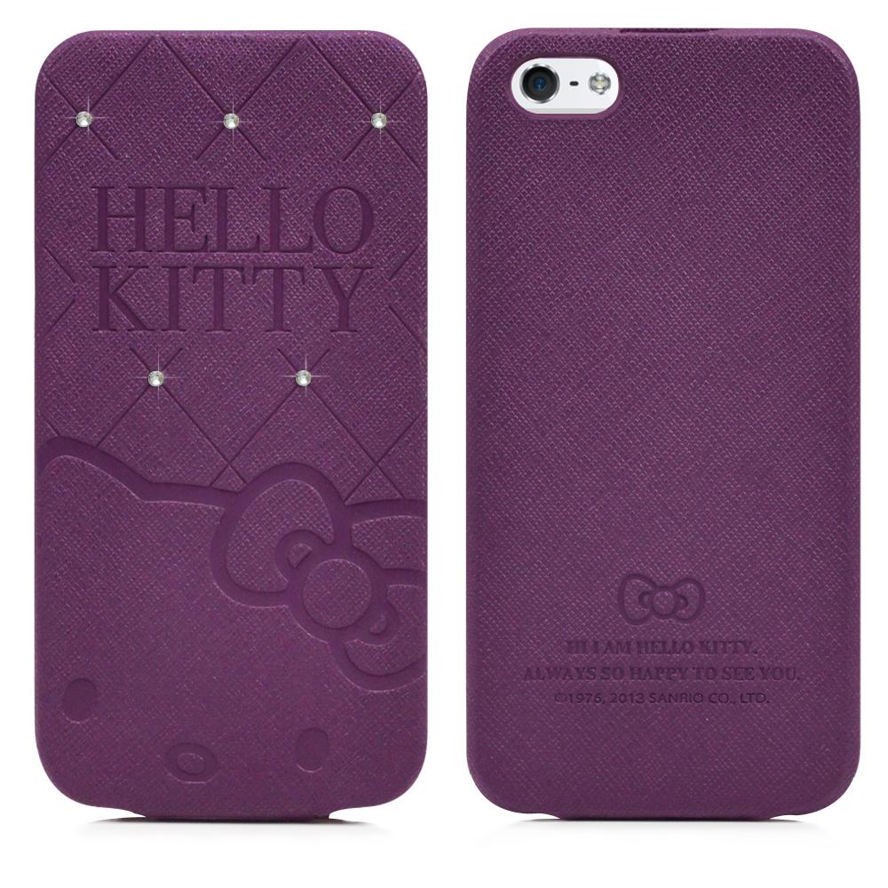 GARMMA Hello Kitty iPhone5/5S/SE下掀式摺疊皮套-典藏紫
